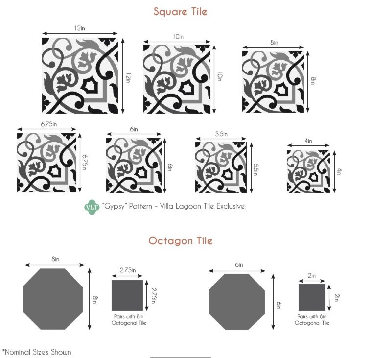 Standard sizes of cement tile