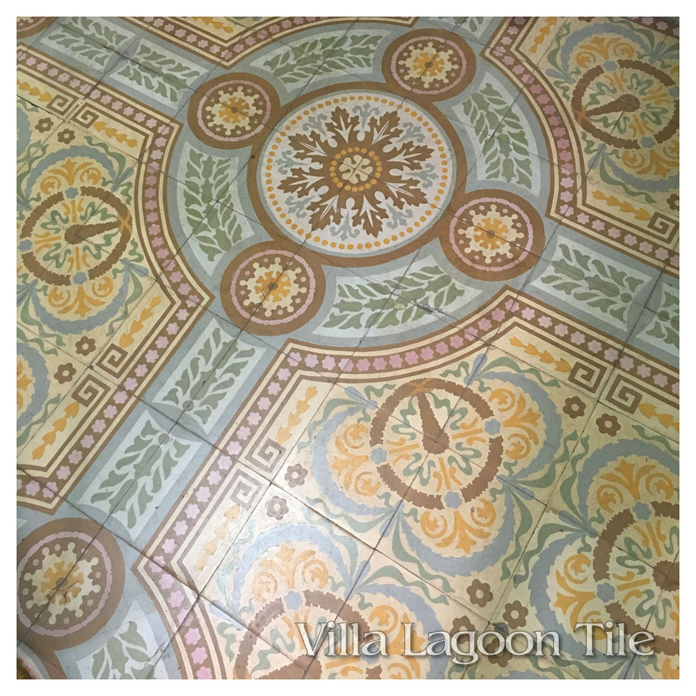A close look at a lovely Cuban tile floor in what was once a handsome home, now divided into apartments.