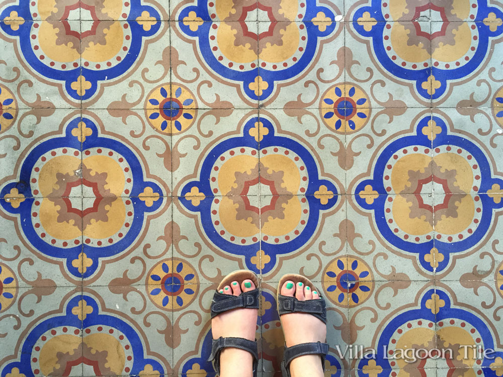 Colorful cement tile floor in Casa Gaia, a private guesthouse in Havana. Our first night in Cuba.