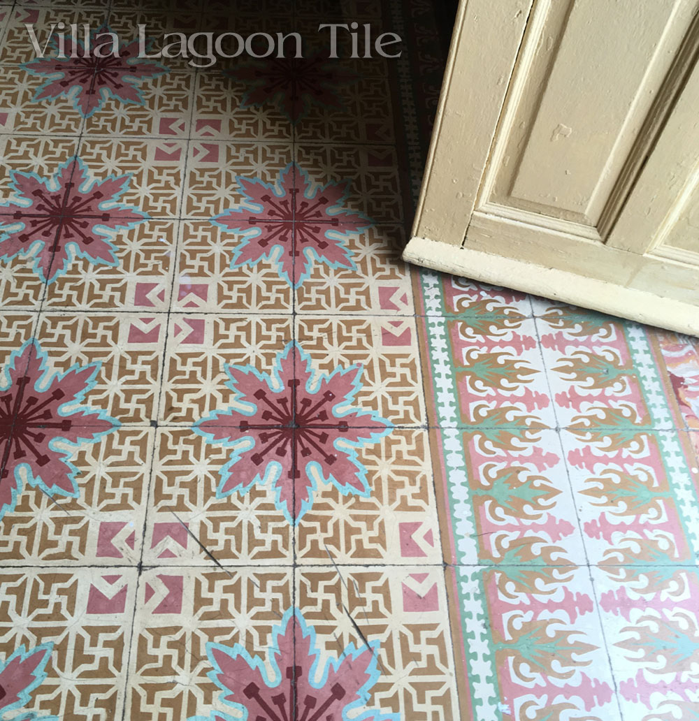 This  front room, called the salon, has cement tile which include the popular Cuban colors of pink and cranberry.