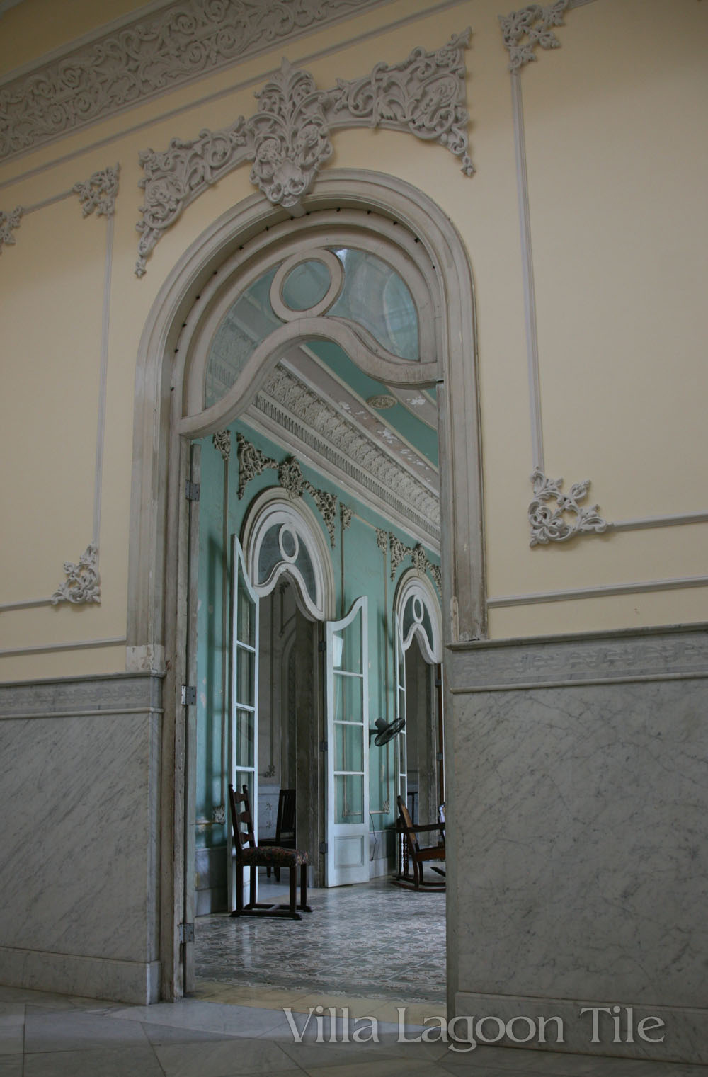 Interior of the Ferrer palace home on the town square in Cienfuegos, Cuba