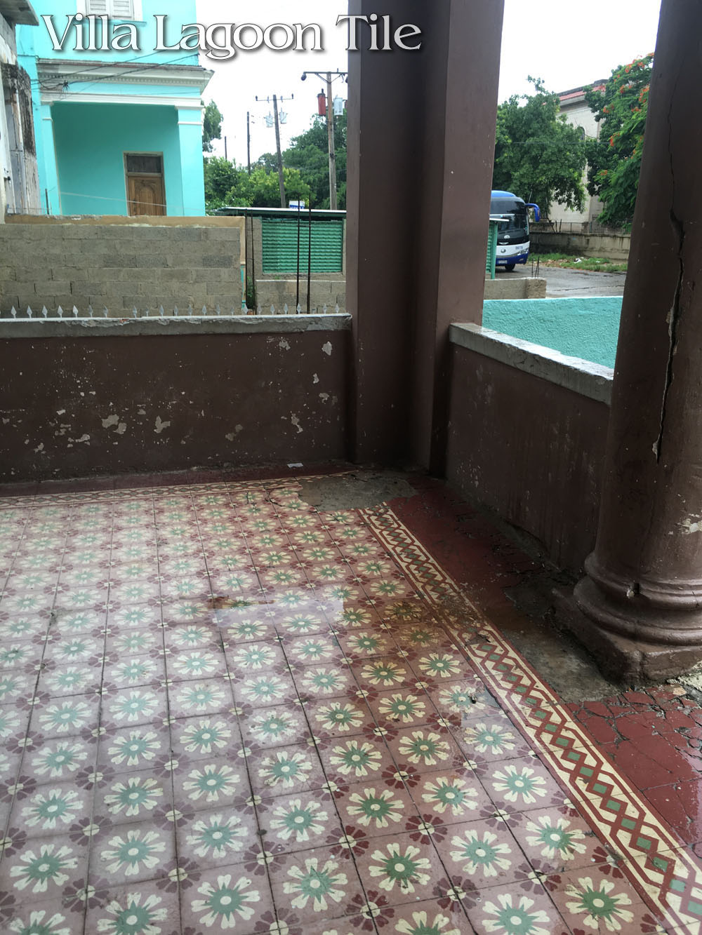A front porch in Havana which shows how well cement tile can do on an exterior location.