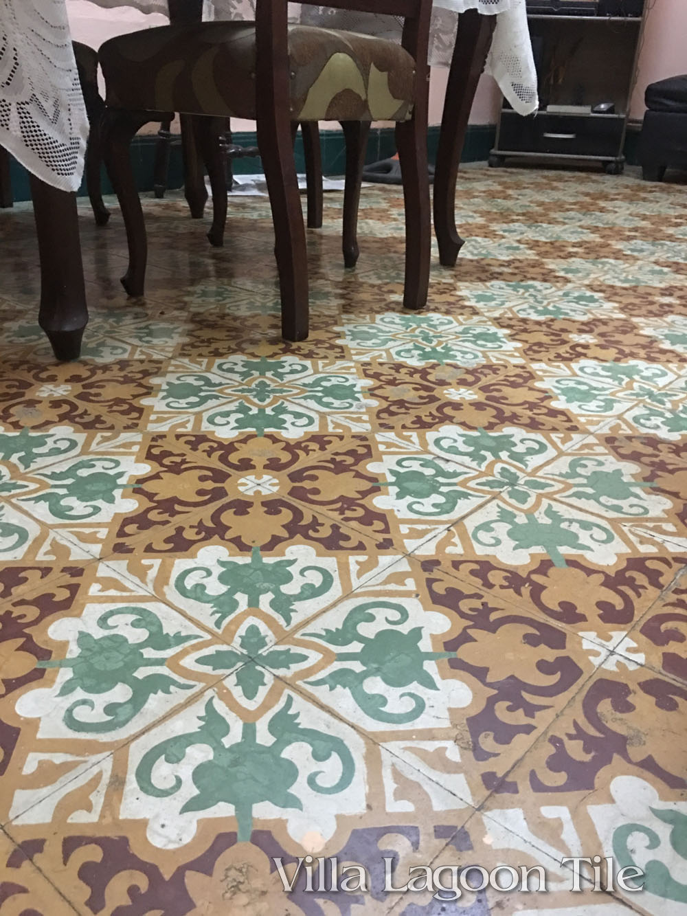 Antique cement tile in Havana in a historic district restaurant.